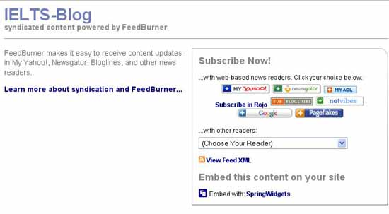FeedBurner Subscription to IELTS-Blog