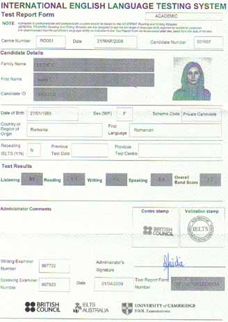 Best IELTS test result April 2009