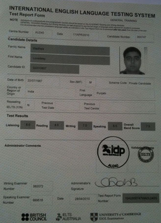Best IELTS test result April 2010