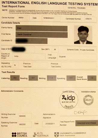 Best IELTS test result April 2011