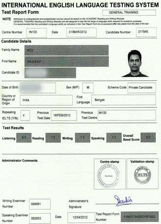 Best IELTS test result April 2012