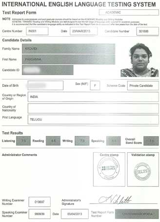 Best IELTS test result April 2013