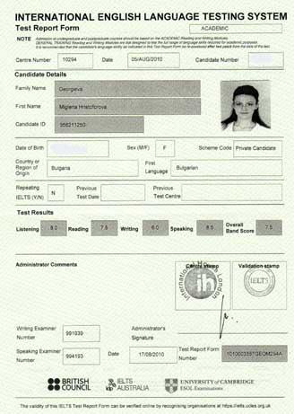 Best IELTS test result August 2010