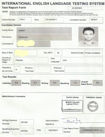 Best IELTS test result August 2011