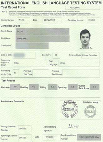 Best IELTS test result August 2012