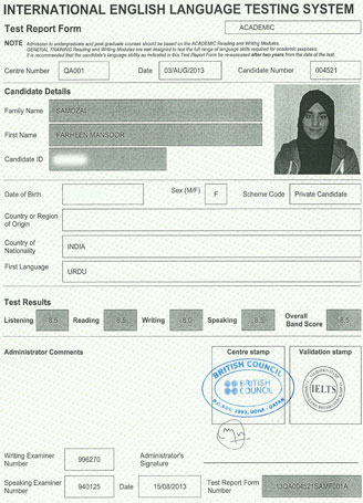 Best IELTS test result August 2013
