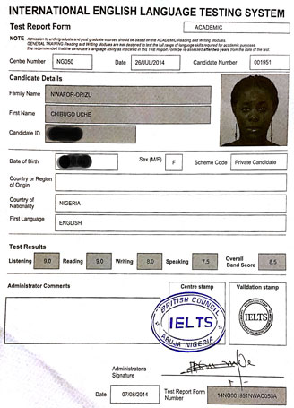 Best IELTS test result August 2014