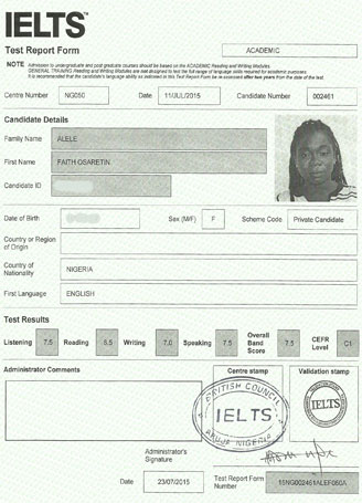 Best IELTS test result August 2015