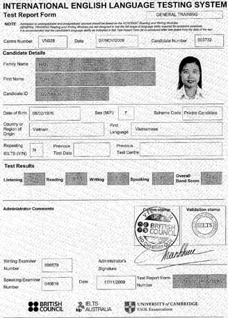 Best IELTS test result December 2009