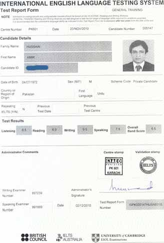 Best IELTS test result December 2010