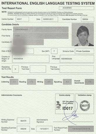 Best IELTS test result December 2011