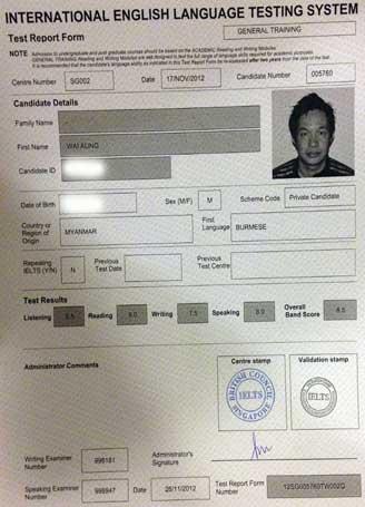 Best IELTS test result December 2012