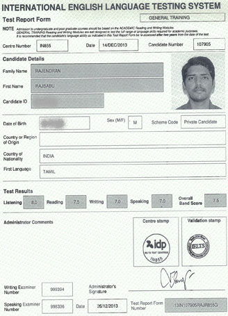 Best IELTS test result December 2013
