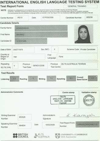 Best IELTS test result February 2009