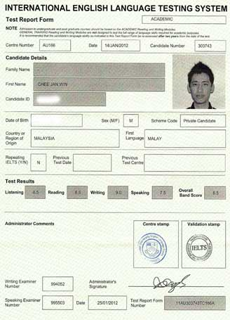 Best IELTS test result February 2012