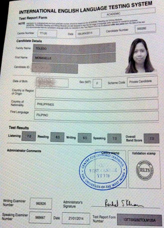 Best IELTS test result February 2014