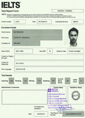 Best IELTS test result February 2016