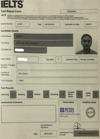 Best IELTS test result February 2021
