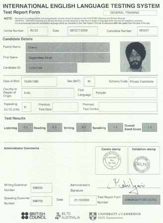 Best IELTS test result January 2010