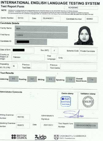Best IELTS test result January 2011