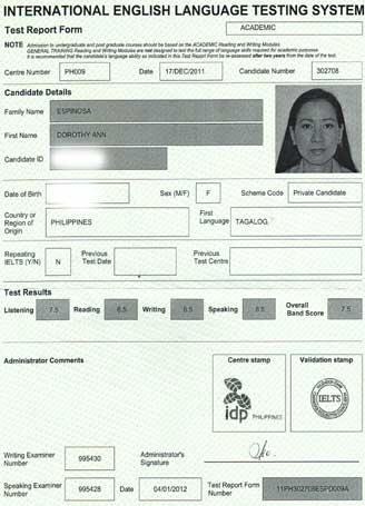 Best IELTS test result January 2012