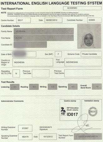 Best IELTS test result January 2013
