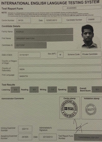 Best IELTS test result January 2014