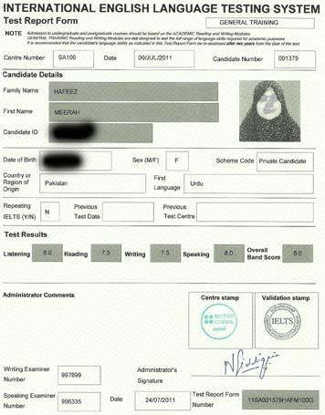 Best IELTS test result July 2011