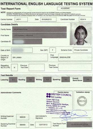 Best IELTS test result July 2012