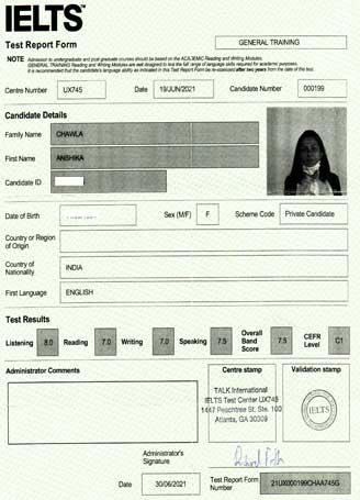 Best IELTS test result July 2021