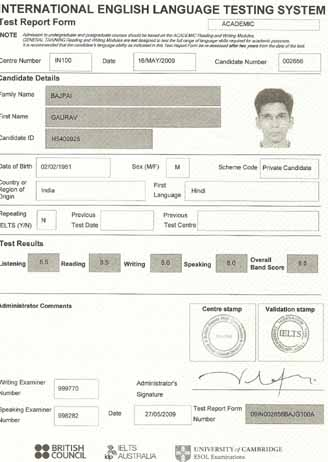 Best IELTS test result June 2009