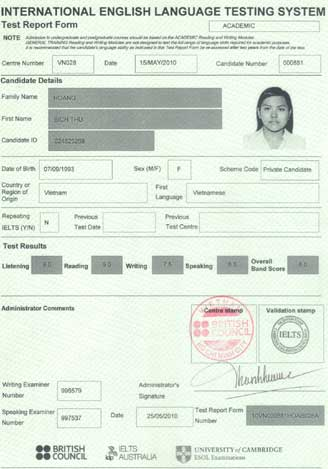 Best IELTS test result June 2010