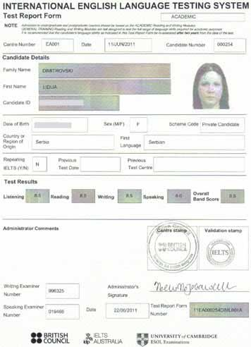 Best IELTS test result June 2011