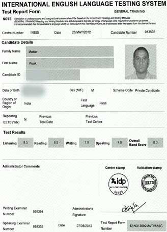 Best IELTS test result June 2012