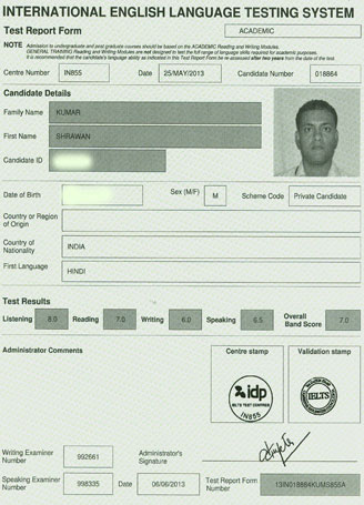 Best IELTS test result June 2013