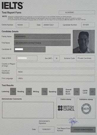 Best IELTS test result June 2021