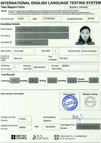 Best IELTS test result March 2009