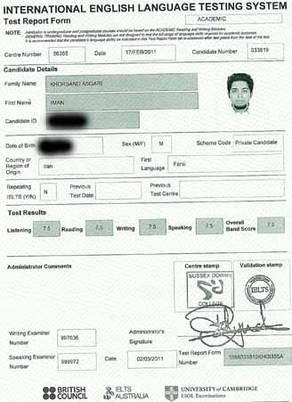 Best IELTS test result March 2011