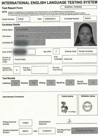 Best IELTS test result March 2012