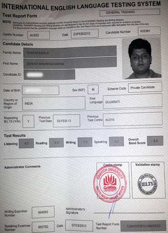Best IELTS test result March 2013