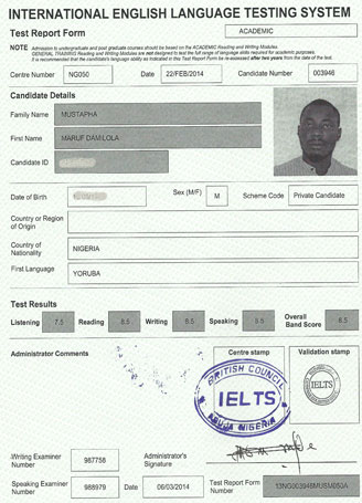 Best IELTS test result March 2014