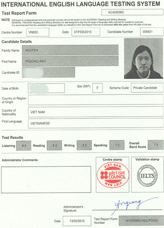 Best IELTS test result March 2015