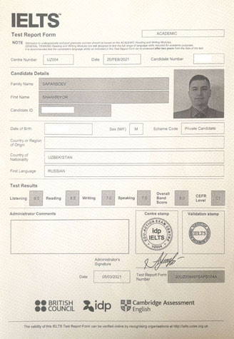 Best IELTS test result March 2021