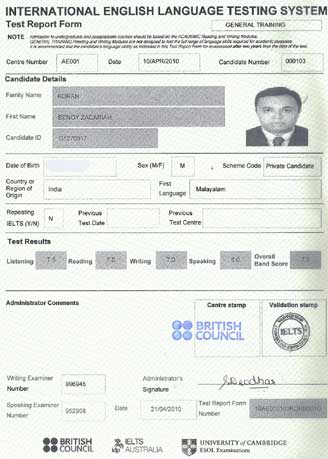Best IELTS test result May 2010