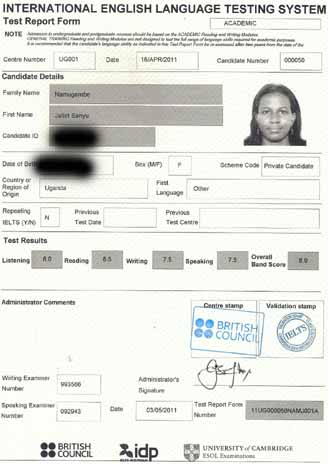 Best IELTS test result May 2011