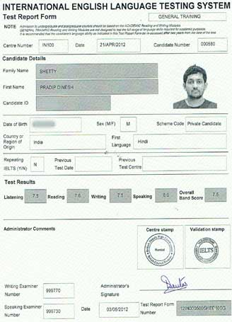 Best IELTS test result May 2012