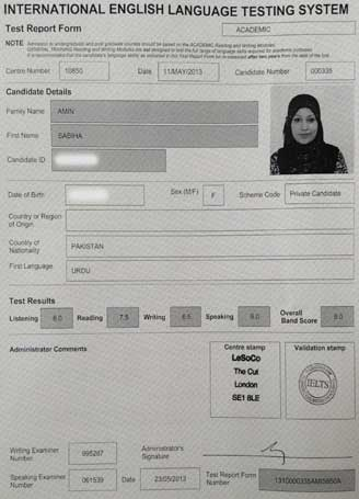 Best IELTS test result May 2013