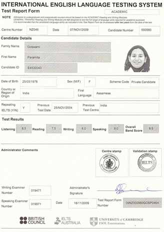 Best IELTS test result November 2009