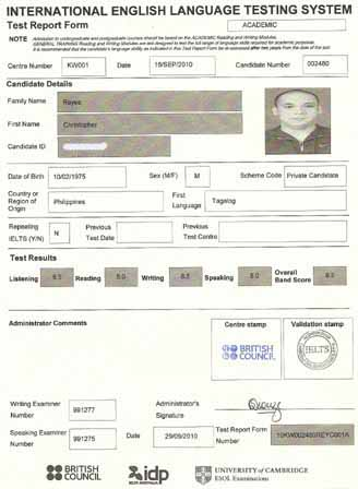 Best IELTS test result November 2010