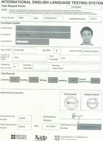 Best IELTS test result November 2010